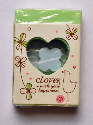 ERAS112 Clover Eraser within an Eraser - Green with Blue Clover