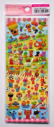 STIC491 Animals in Seasons Raised Plastic Sticker Sheet