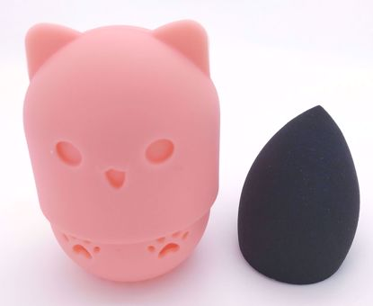 Buy Cute Kitty Silicone Make Up Sponge Holder and Brush Cleaner with Black Make Up Sponge - Peach Kitty