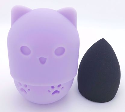 Buy Cute Kitty Silicone Make Up Sponge Holder and Brush Cleaner with Black Make Up Sponge - Lilac Kitty