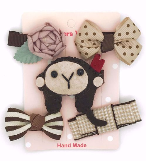 Buy Super Cute Set of 5 Bows, Ribbons, Flowers, Felt Animals Hair Slides / Clips - Monkey