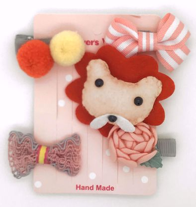 Buy Super Cute Set of 5 Bows, Ribbons, Flowers, Felt Animals Hair Slides / Clips - Lion