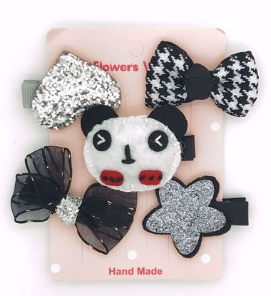 Buy Super Cute Set of 5 Bows, Ribbons, Flowers, Felt Animals Hair Slides / Clips - Panda