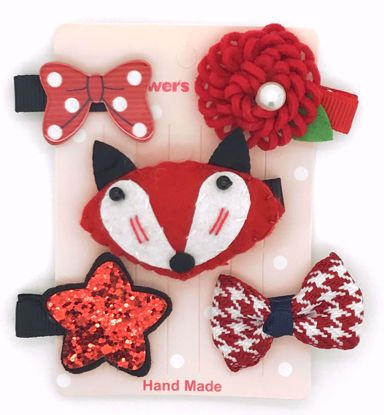 Buy Super Cute Set of 5 Bows, Ribbons, Flowers, Felt Animals Hair Slides / Clips - Fox