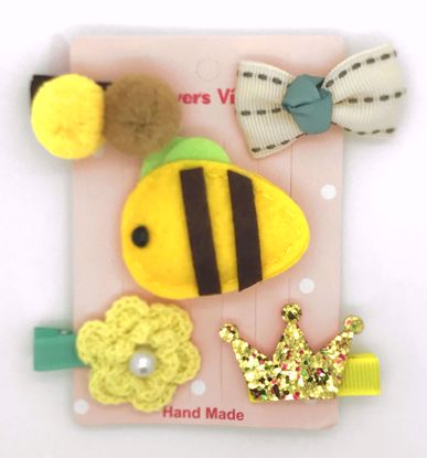 Buy Super Cute Set of 5 Bows, Ribbons, Flowers, Felt Animals Hair Slides / Clips - Bee